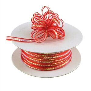 3mm-1-8-Organza-Pull-bow-ribbon-Red-iridescent-50-yd