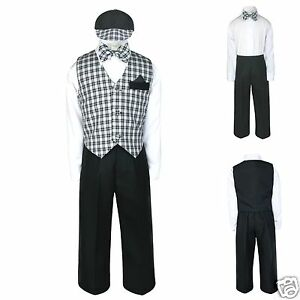 New-Infant-Boy-amp-Toddler-Black-Wedding-Formal-Vest-Suit-Outfits-0-24M-2T-3T-4T
