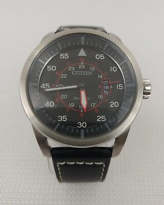 new product 053e0 a5215 CITIZEN Eco Drive Aviator J810-S090822 Stainless Steel Japan Black Leather  Red | eBay