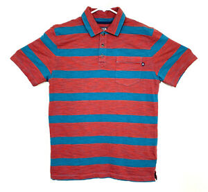 The-North-Face-Mossbrae-Polo-Shirt-Mens-Small-Red-Blue-Striped-Pocket-Cotton