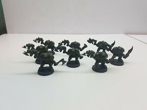 Green-Orks-Gretchin-unpainted-figure-lot-9-Space-quest-parts-MB-Spacequest-game