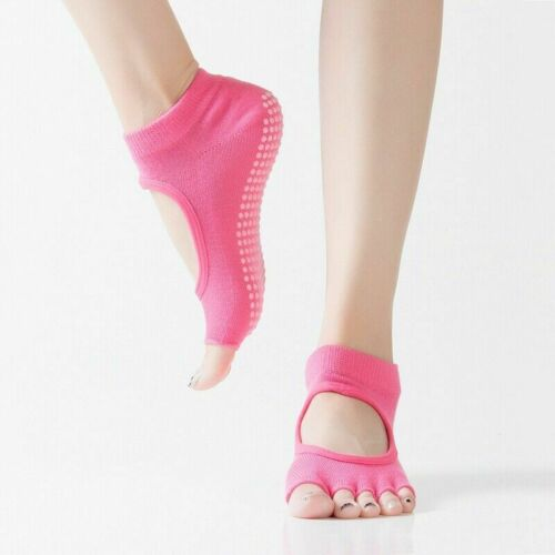 Women Yoga Socks Cotton Anti-slip Soft Grip Toe less Fitness Socks Rose