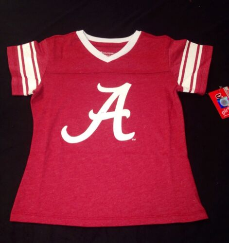White and Sparkle Jersey Style Tee University of Alabama Little Girl/'s Red