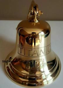 Antique-Brass-Wall-Bell-Titanic-Ship-039-s-School-Pub-Last-Orders-Dinner-Door-8-inch