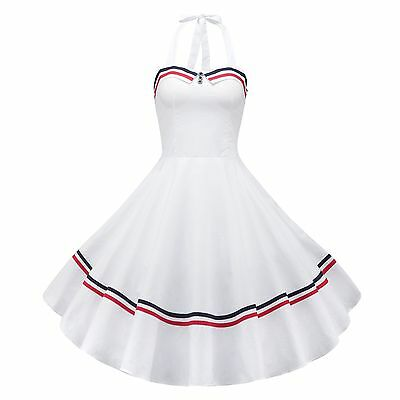 50'S 60'S Rockabilly Dress Vintage Swing Pinup Retro Housewife Party Dress White