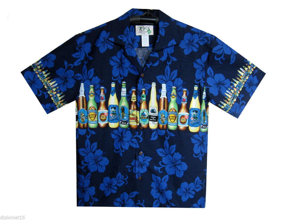 KY's Original Camicia Hawaiana Bottiglie di Birra Stampa sul Petto Blu
