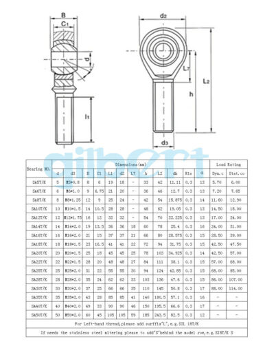 Stainless Steel SSA6-35T//K Right Hand Rod End Joint Bearing Male Thread