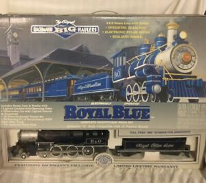BACHMANN-BIG-HAULERS-ROYAL-BLUE-G-SCALE-TRAIN-SET-W-OG-BOX