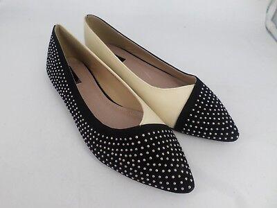 Pérdida de tinta de ancho ajuste Contraste Tachonado Zapatos Planos UK 7 EU 40 LN25 83