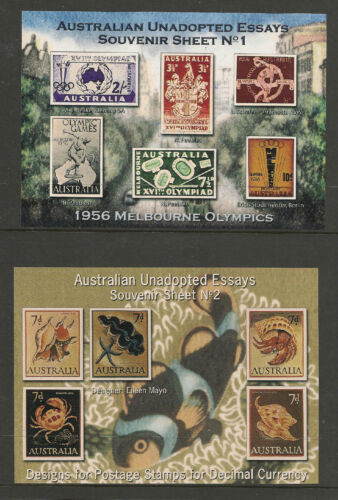 Australia 2005 UNADOPTED STAMP DESIGNS Set Of 12 Cinderella Souvenir Sheets MNH