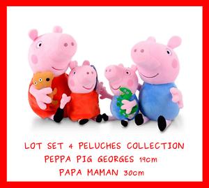 Lot Set 4 Grande Peluche Doudou Peppa Pig 19 30 Cm Cochon Jeu Jouet Enfant Bebe Ebay