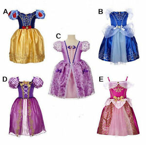 Girls-Princess-Dress-Aurora-Snow-White-Rapunzel-Party-Fancy-Xmas-Gift-Dress-New