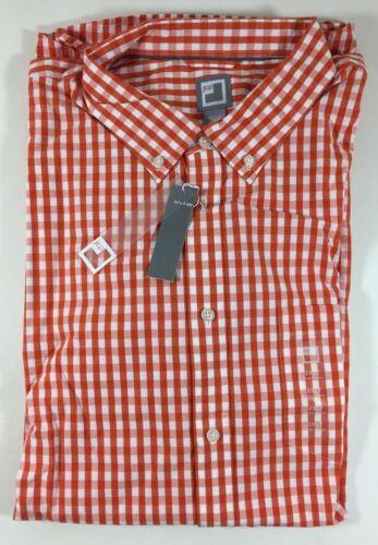JCP L//S Orange White Checkered Plaid 80/'s 2-Ply Cotton Shirt Men/'s 2XLT Tall NWT