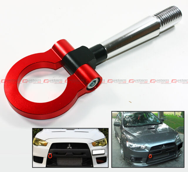 FOR 2008-2014 LANCER EVO X 10 MR RED FRONT/REAR FOLDING SCREW ON RACING TOW HOOK