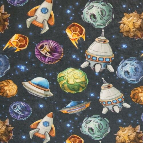 P Cartoon Spaceships /& Aliens Zooming In Space 96/% Cotton 4/% Elastane Fabric
