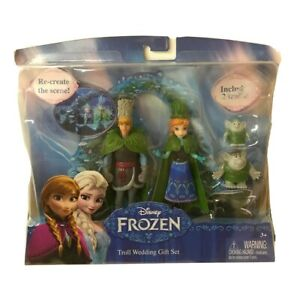 "Disney Frozen Toll Wedding Gift Set Dolls 4/"" Anna Kristoff 2 Ttrolls New"