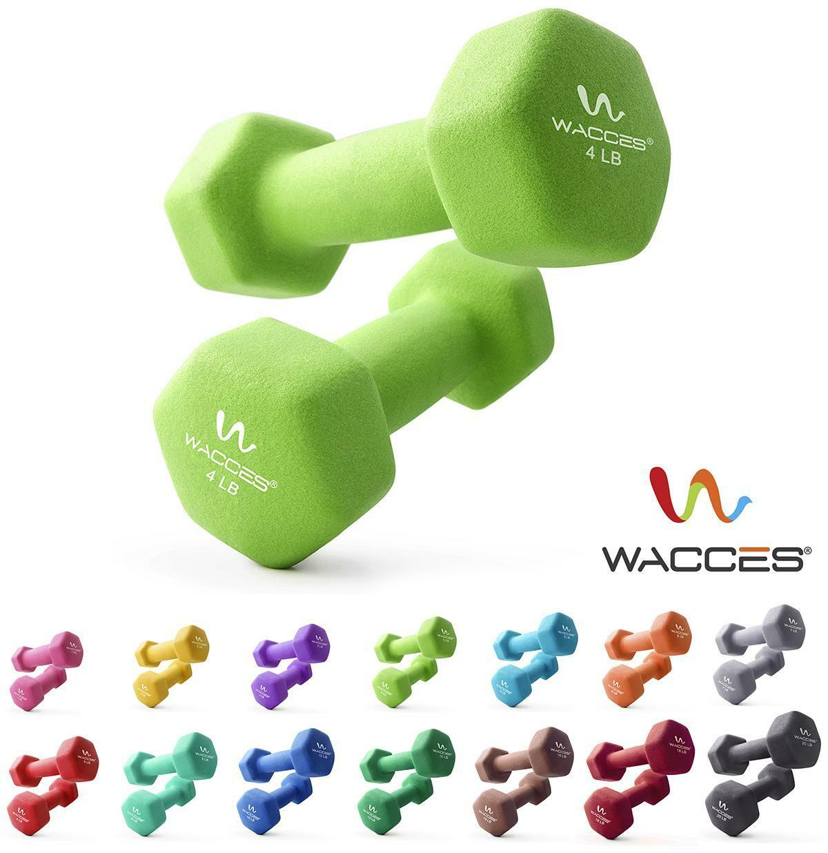 Wacces Dumbbell Hand Weight  2 or 6 pc Sets Non-Slip Neoprene Grip 1 - 32 lbs