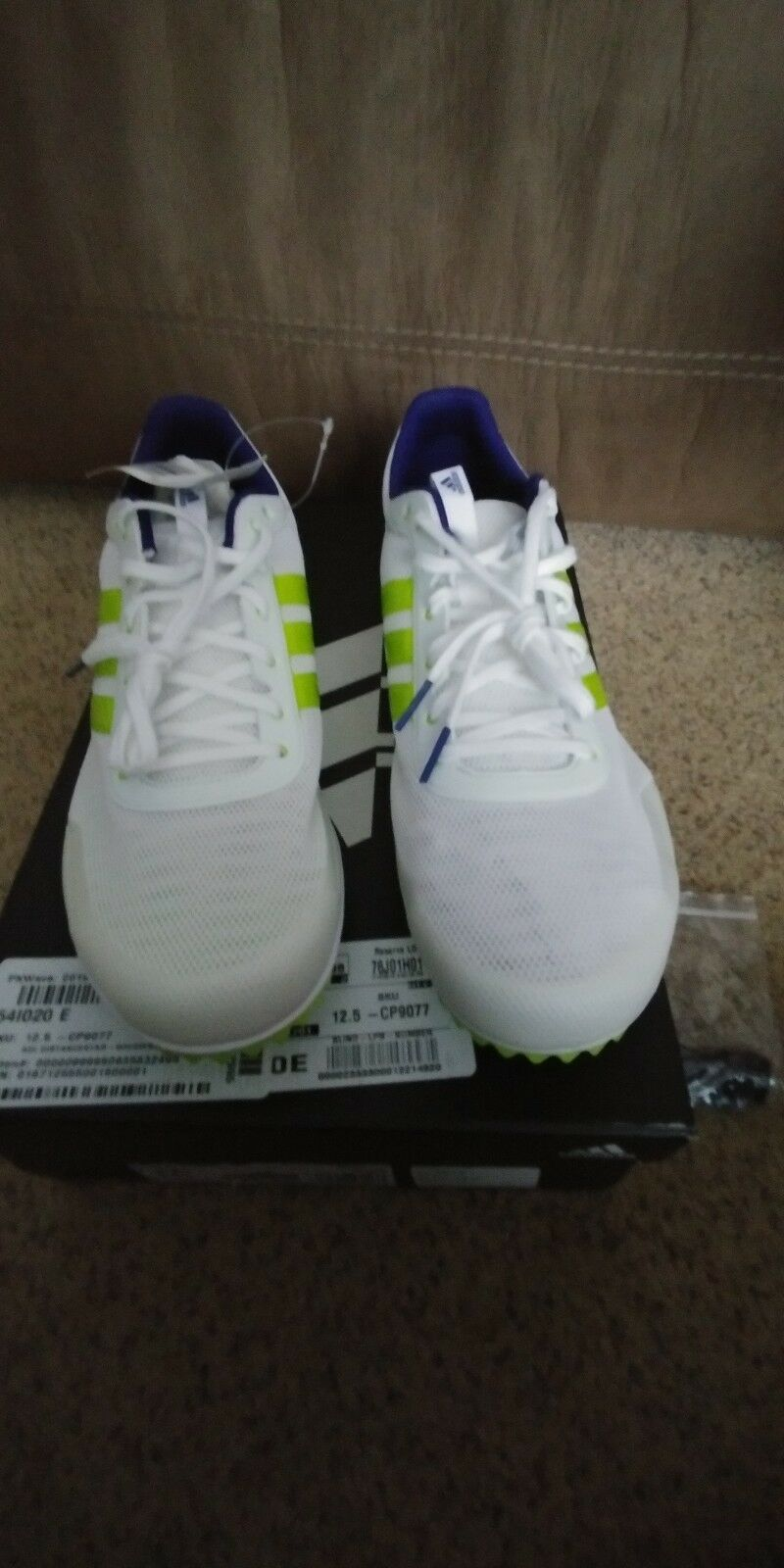 Men's Adidas Distancestar RRacing, size 12.5, white slime, NIB