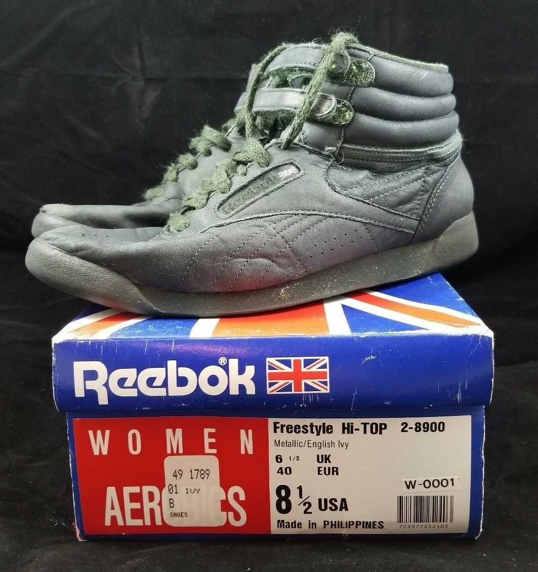 Vintage Vintage Vintage Reebok Freestyle Hi-Top W  Box Womens Aerobics 80s shoes 8.5 English Ivy 9aaeb5