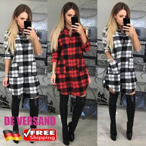 DE-Damen-Kariert-Mit-Knopf-Hemdkleid-Longbluse-Langarm-Freizeitkleid-Minikleider