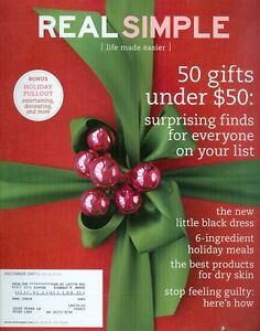 2007 Real Simple Magazine: 50 Gifts Under $50/Little Black Dress/Holiday Meals