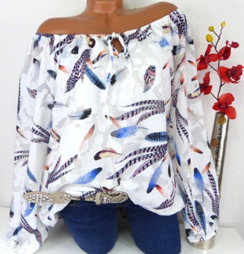 Bluse Carmen Italy Tunika Shirt Poncho Hippie doppellagig Federn Weiß 44 46