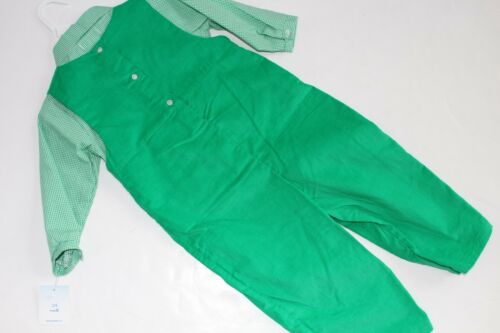 Petit Ami Outfit Boys Size 9 M Green Smocked Penguin Longalls NEW NWT 2PC Shirt
