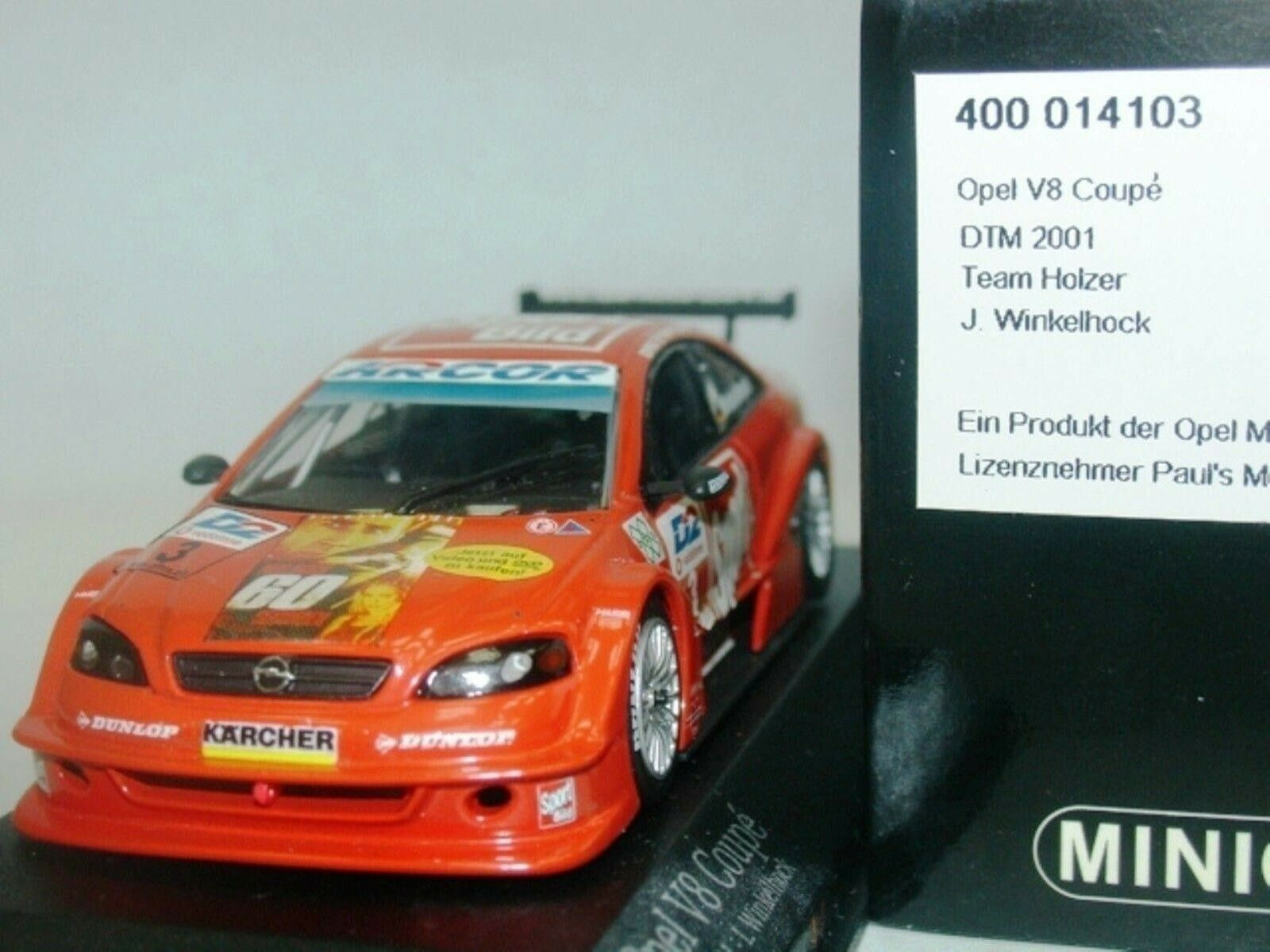 WOW EXTREMELY RARE Opel Opel Astra V8 2001  03 Winkelhock DTM 1 43 Minichamps-M3 OPC