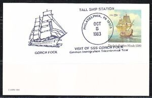United-States-1983-post-card-cancel-in-Philadelphia-on-Gorch-Fock-Tall-ships