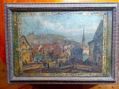 Antike Holzschatulle Holzkasten Biedermeier Nußholz Mit Malerei 100% Hochwertige Materialien