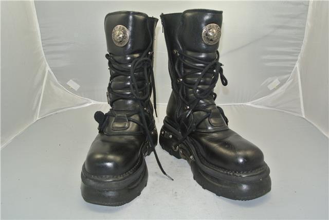 NEW ROCK BLACK Stiefel 4 4 4 STRAPS ANATOMICAL SOLE ZIP EMO SIZE 8 UK 485ed5