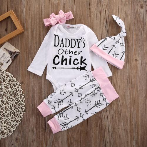 4PCS Set Newborn Baby Girl Clothes Long Sleeve Cotton Romper