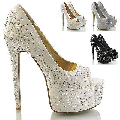 LADIES HIGH HEEL SATIN DIAMANTE WOMENS PLATFORM BRIDAL PROM PARTY SPARKLY SHOES