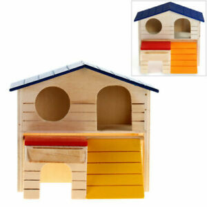 Luxury-Wooden-House-2-Door-Small-Pet-Hutch-Mouse-Rat-Hamster-Home-Bunny-Cabin
