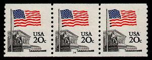 UNITED STATES, SCOTT # 1895, COIL STRIP OF 3 PNC #14, FLAG OVER SUPREME COURT