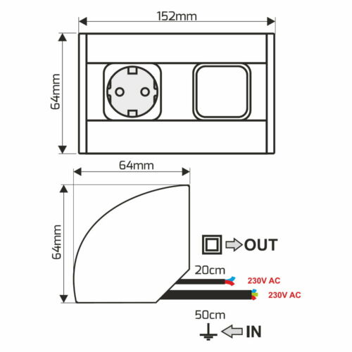 Aluminium Aufbausteckdose mit Schalter Aufbau Eck Steckdose Küche Ausschalter