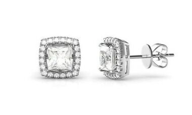 Aventura 18K White Gold Plated Halo Pave Square Earrings