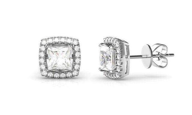 18K White Gold Plated Halo Pave Square Earrings with Crystals from Swarovski®