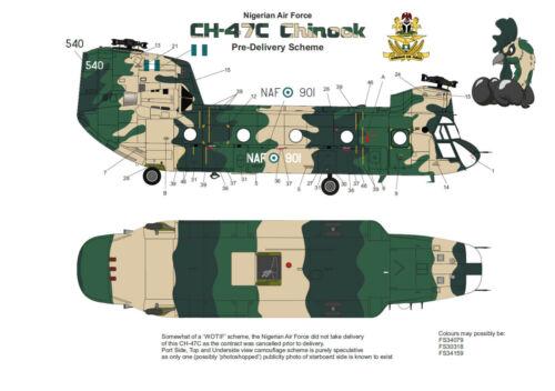 Pre Delivery Scheme -DEKL/'s II Nigerian Air Force CH-47C Chinook 1//72 Decals