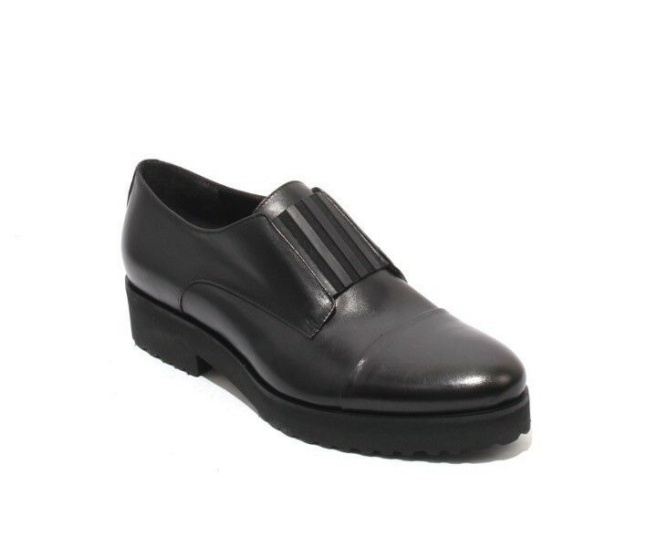 Luca Grossi 255a Black Leather   Elastic Loafers Comfort shoes 37   US 7