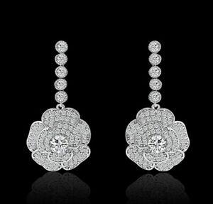 Boucles-d-039-Oreilles-Clous-Plaque-Or-Blanc-CZ-Chandelier-Fleur-Rose-Mariage-G1-5