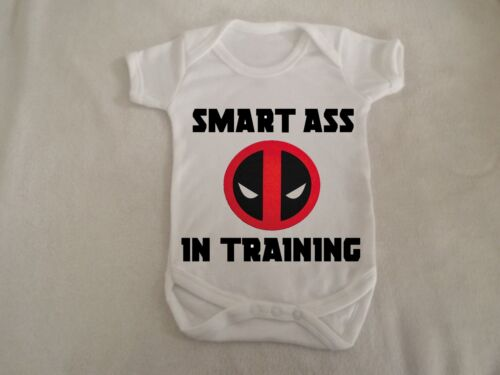 smart ass in training deadpool vest up to 18 months sizes available