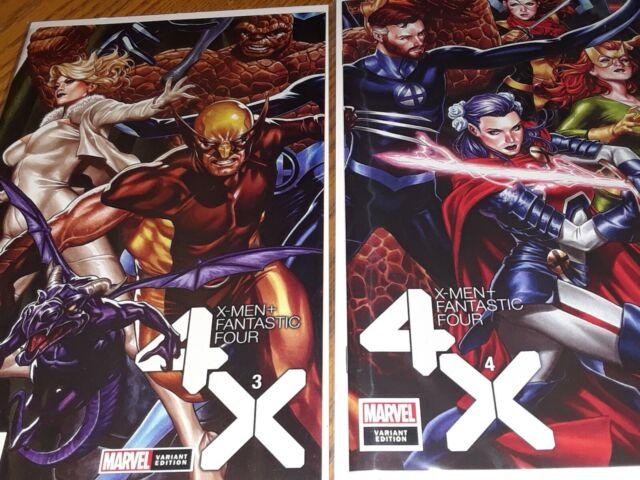 X-Men Fantastic Four #3-4 MARVEL Comics Mark Brooks Connecting Variant Set NM