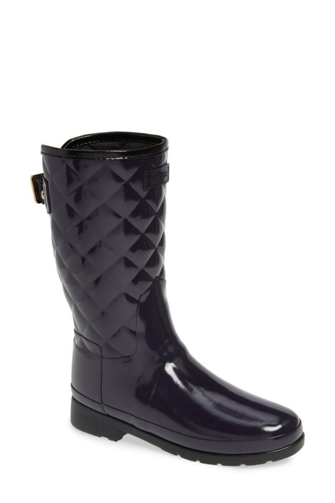 Mujeres botas De Lluvia Hunter refinado de alto brillo Acolchado De Goma Botines 5 8 gris Corto