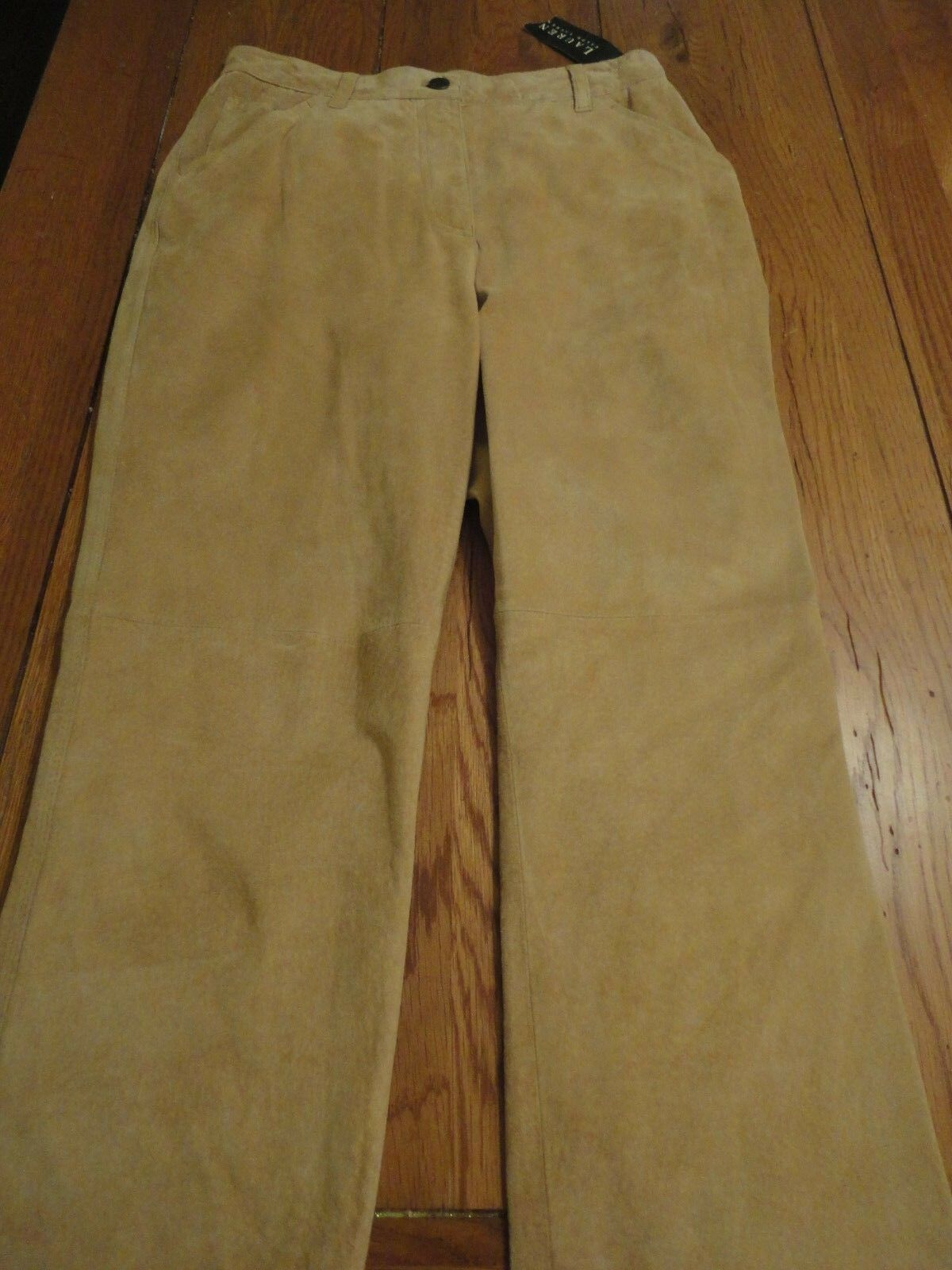 NEW LAUREN Ralph Lauren Suede leather lined pants size 6 NWT