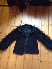 black shaggy fur zara jacket xs