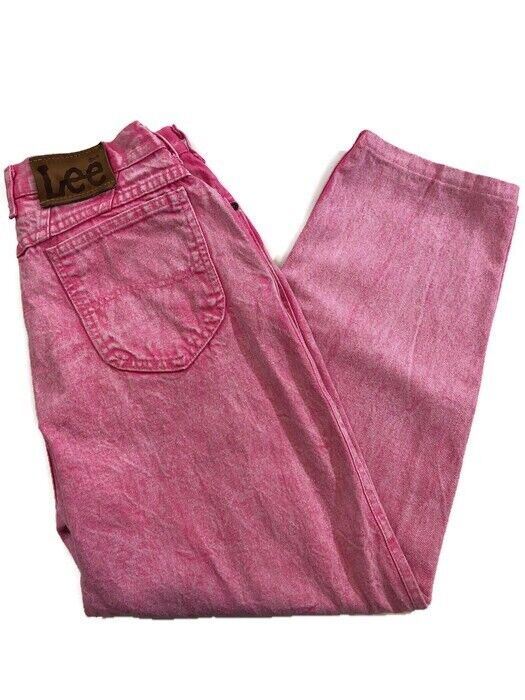 Vintage Pink Frosted Lee Jeans Women's Size 13 Medium 28x26 High Waisted Pants