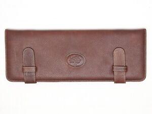 Mulberry-England-Mens-Leather-Tie-Case-Brown-Green-Tartan-Lining-Necktie-Keeper