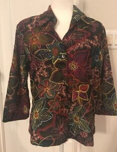 Coldwater-Creek-Semi-sheer-Embroidered-Floral-Button-Front-Shirt-Size-M-L