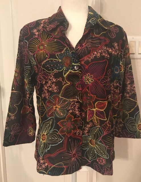 Coldwater Creek Semi-sheer Embroidered Floral Button Front Shirt- Size M/L?
